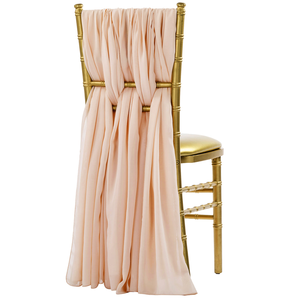 5pcs Pack of Chiffon Chair Sashes/Ties - Blush