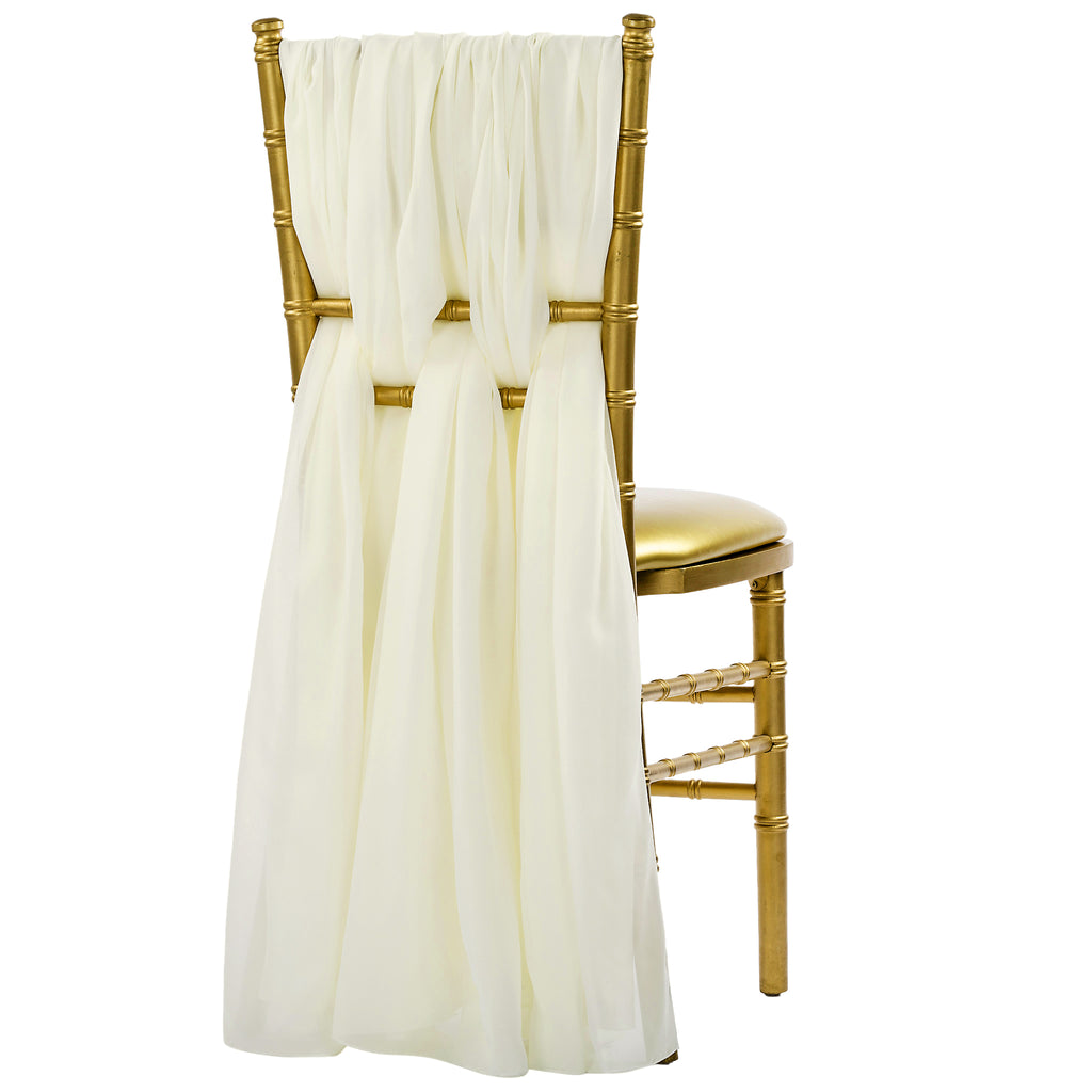 5pcs Pack of Chiffon Chair Sashes/Ties - Ivory