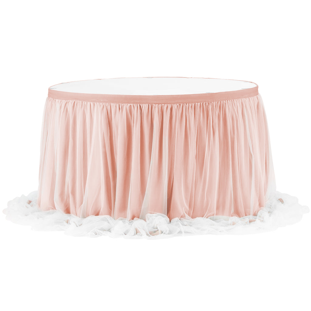 Chiffon Tulle Table Skirt Extra Long 17ft - Blush/Rose Gold
