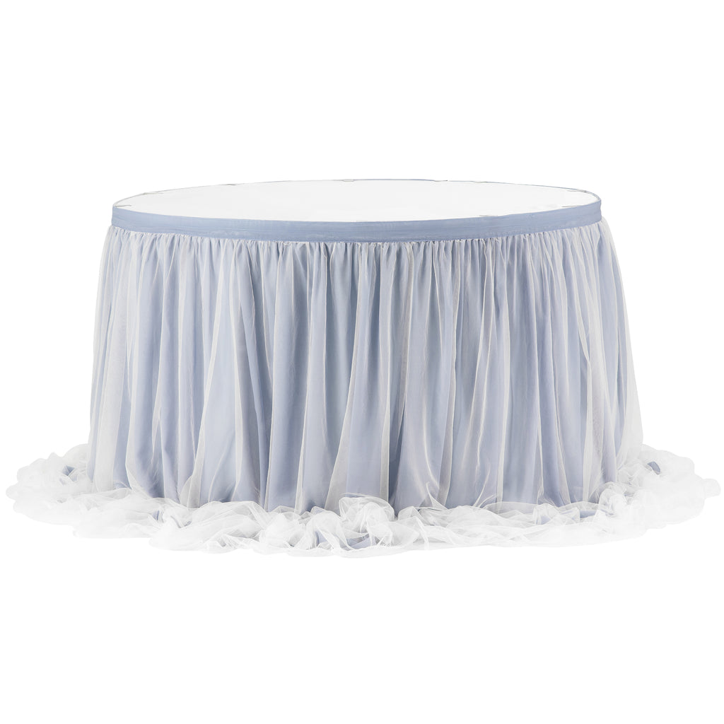 Chiffon Tulle Table Skirt Extra Long 17ft - Dusty Blue