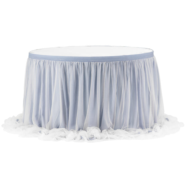 Chiffon Tulle Table Skirt Extra Long 17ft Dusty Blue