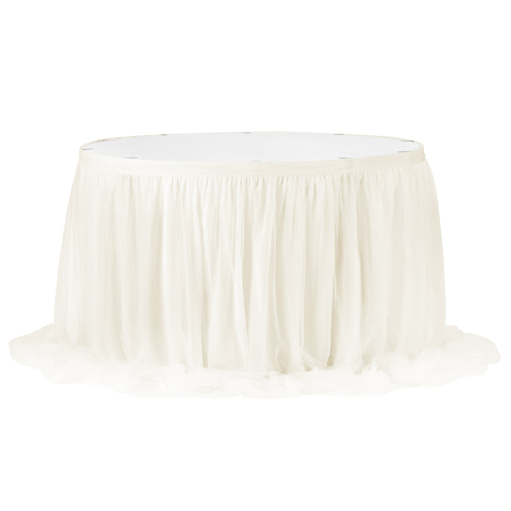 Chiffon Tulle Table Skirt Extra Long 17ft - Ivory