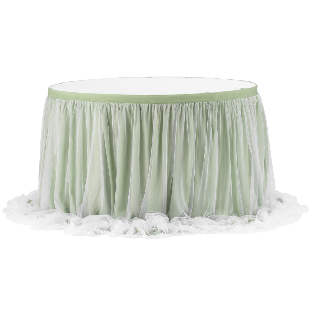 Chiffon Tulle Table Skirt Extra Long 17ft - Sage Green
