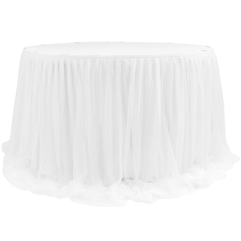 "Chiffon Tulle Table Skirt Extra Long 57"" x 17ft - White"
