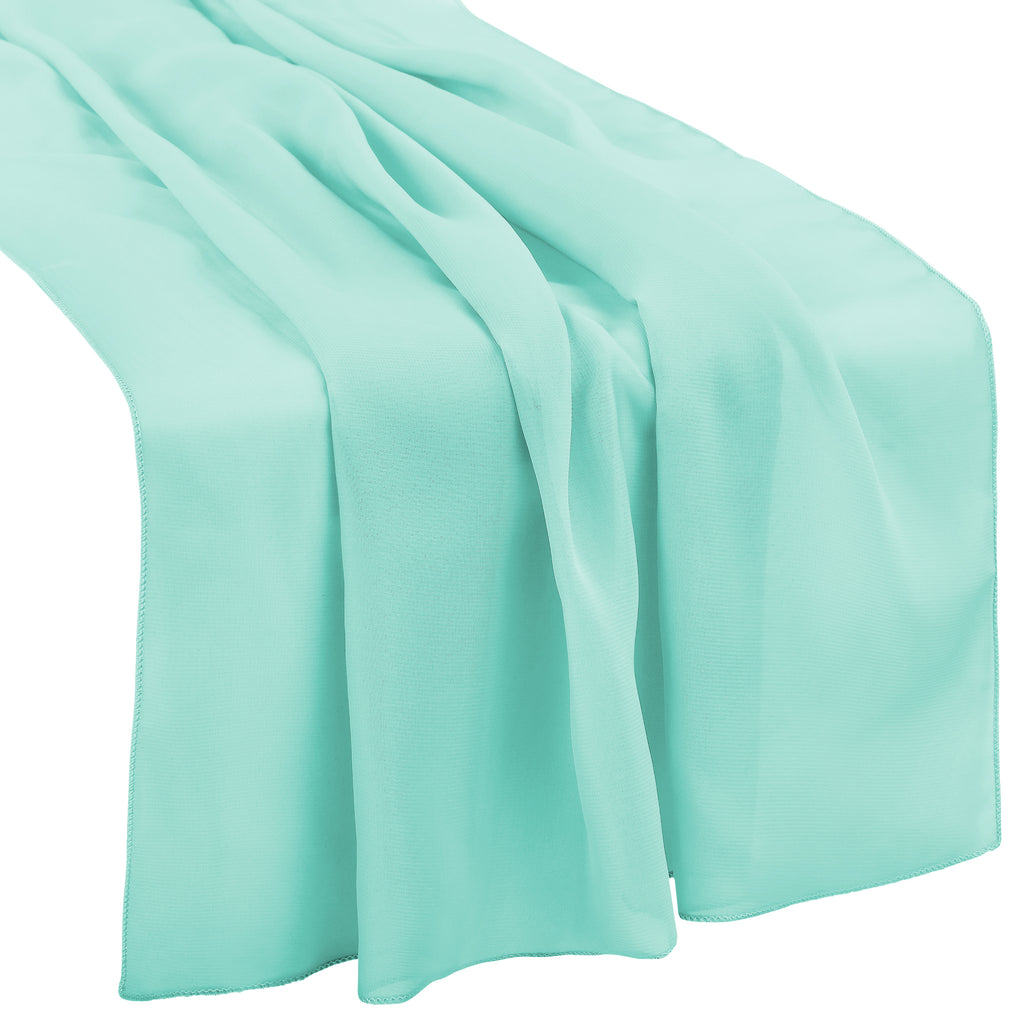 "Chiffon Wedding Table Runner 27""x120"" - Light Turquoise"