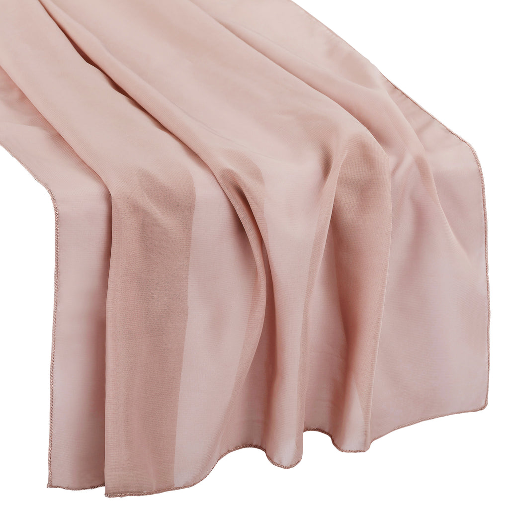 "Chiffon Wedding Table Runner 27""x120"" - Dusty Rose/Mauve"