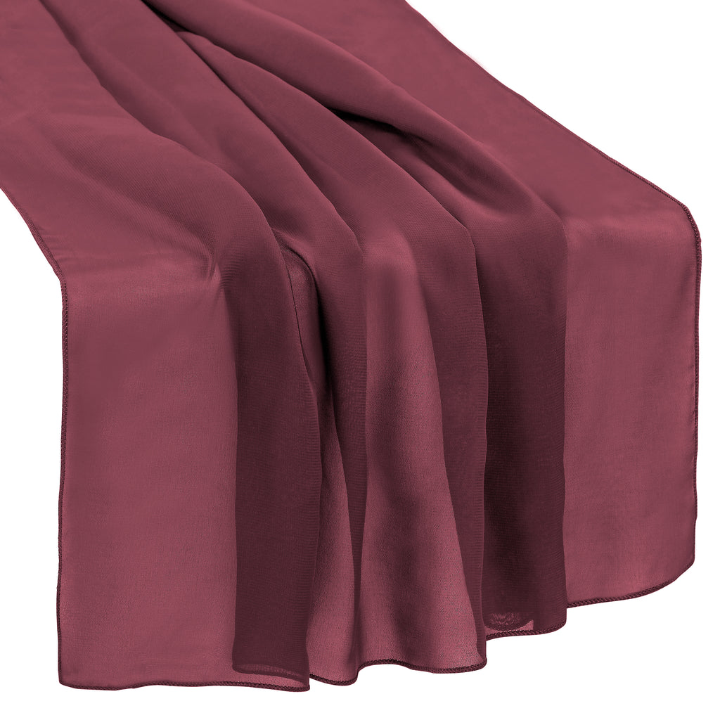 "Chiffon Wedding Table Runner 27""x120"" - Berry"