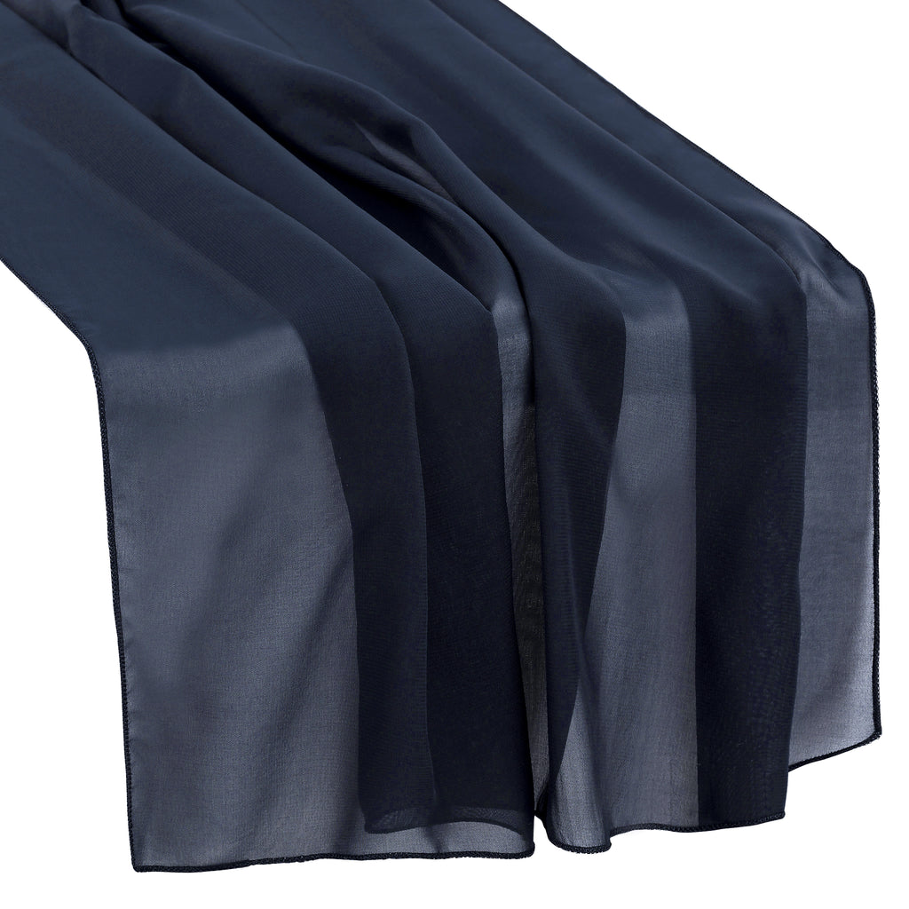 "Chiffon Wedding Table Runner 27""x120"" - Navy Blue"
