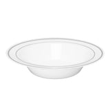 "Classic Plastic Disposable Soup Bowls 7.5"" (10/pk) - White Silver-Trimmed"