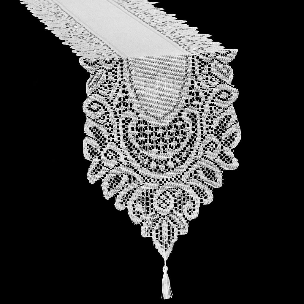 where can i buy 100% top quality online store Crochet Lace Table Runner - White