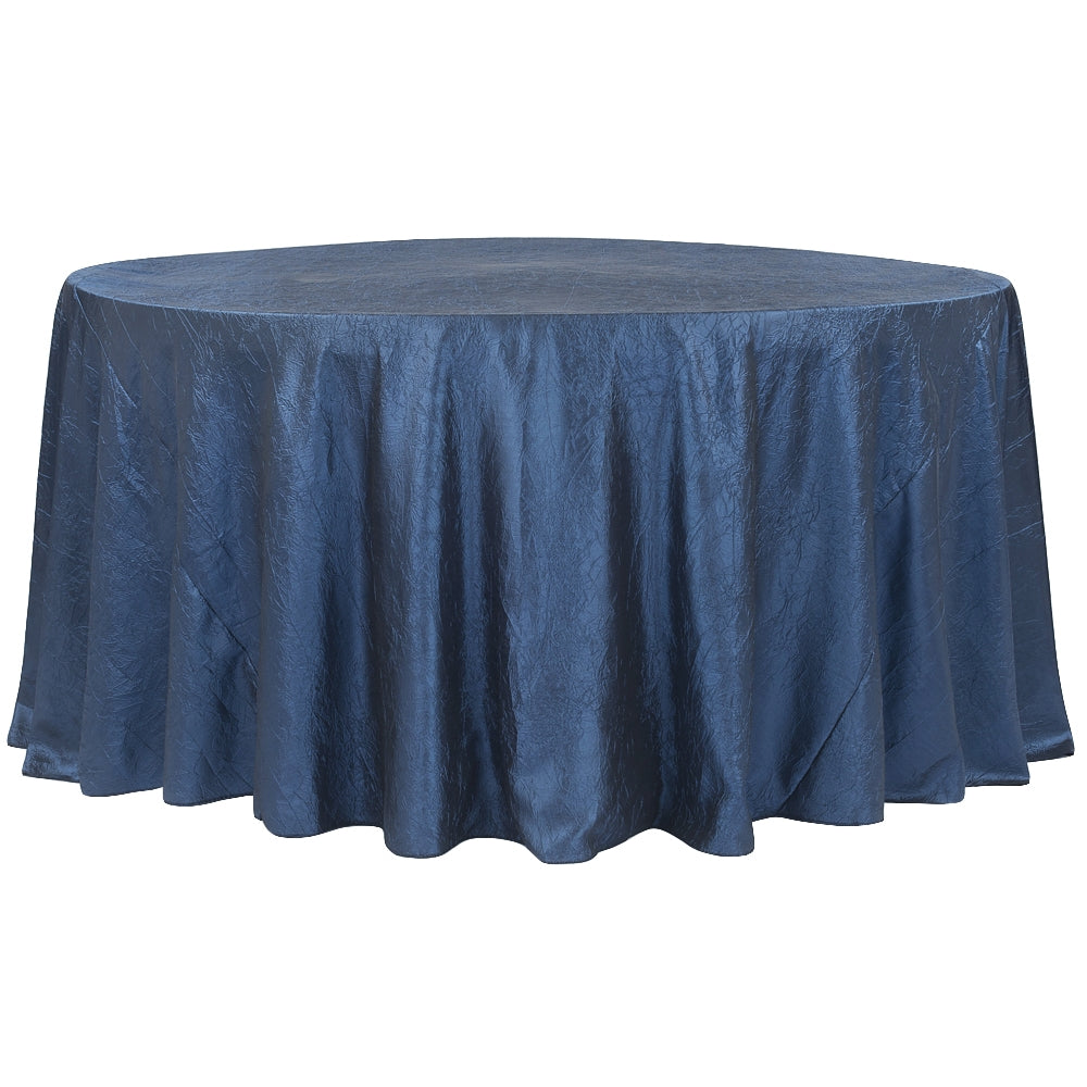 "Crushed Taffeta 120"" Round Tablecloth - Navy Blue"