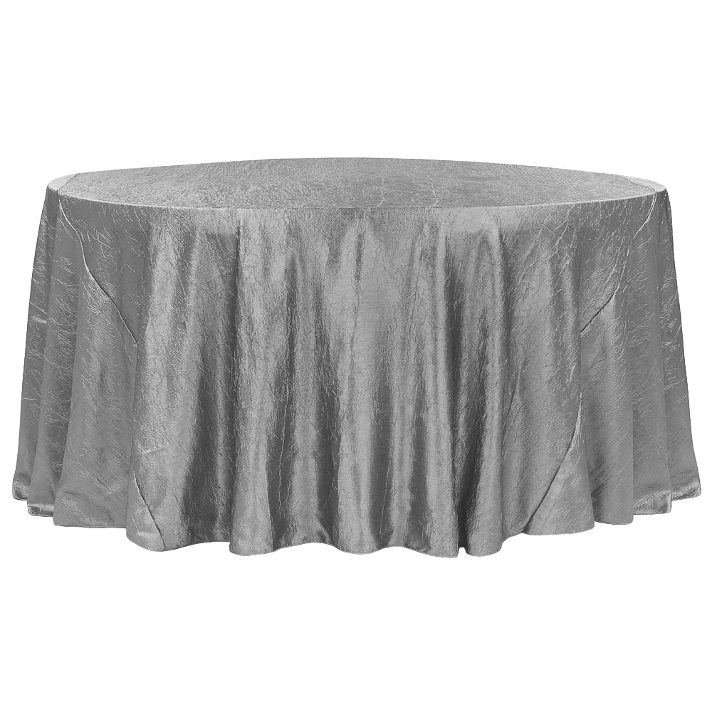 "Crushed Taffeta 120"" Round Tablecloth - Silver"
