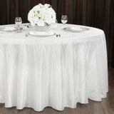 "Crushed Taffeta 120"" Round Tablecloth - White"