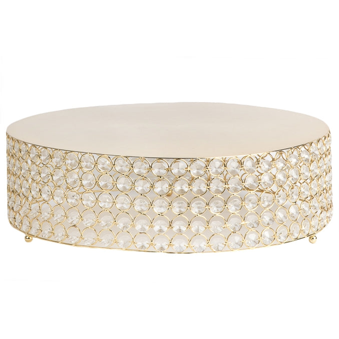 "Crystal 18"" Round Cake Stand - Gold Plated"