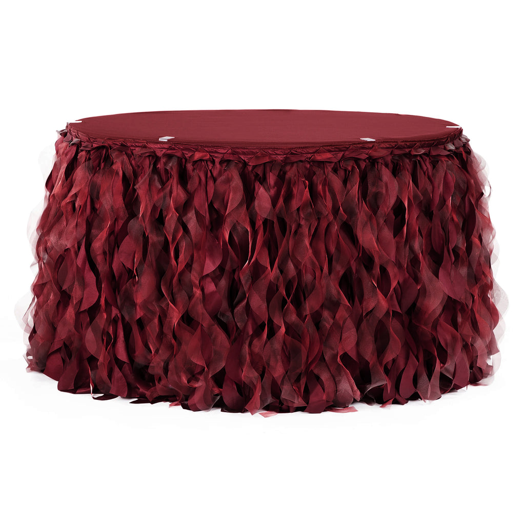 Curly Willow 14ft Table Skirt - Burgundy