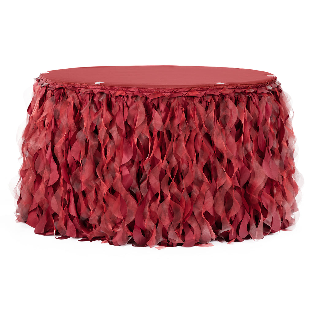 Curly Willow 17ft Table Skirt - Apple Red