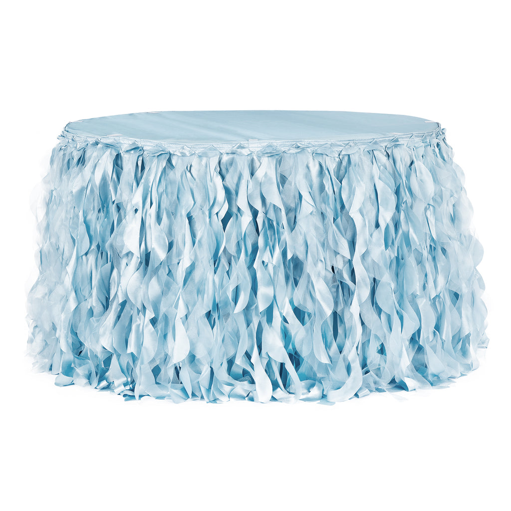 Curly Willow 17ft Table Skirt - Baby Blue