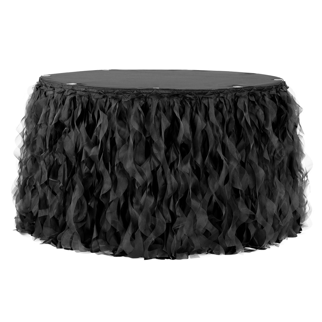 Curly Willow 17ft Table Skirt - Black