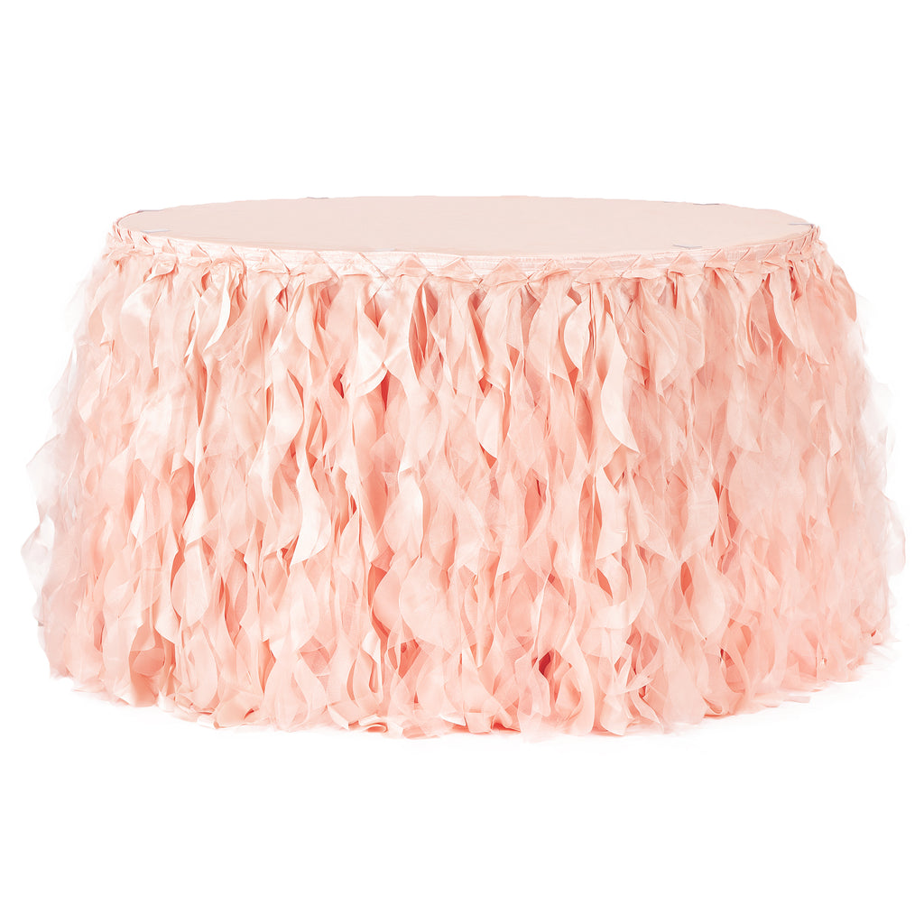 Curly Willow 14ft Table Skirt - Blush/Rose Gold