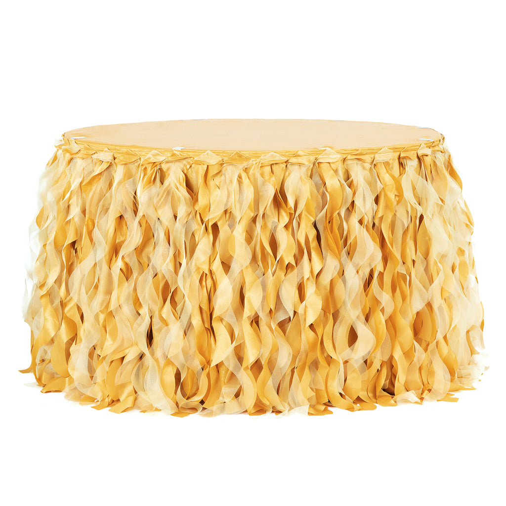 Curly Willow 14ft Table Skirt - Bright Gold