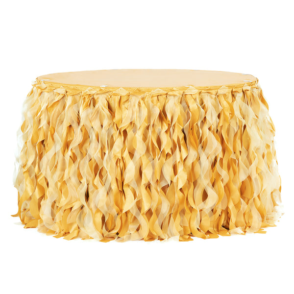 Curly Willow 17ft Table Skirt Bright Gold Cv Linens