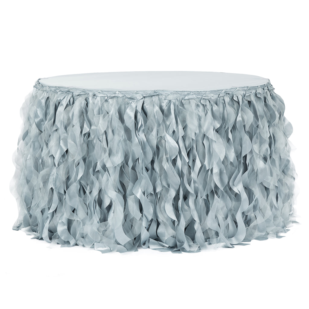 Curly Willow 14ft Table Skirt - Dusty Blue
