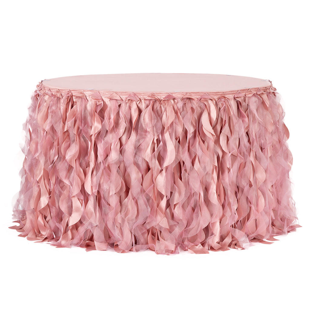 Curly Willow 14ft Table Skirt - Dusty Rose/Mauve