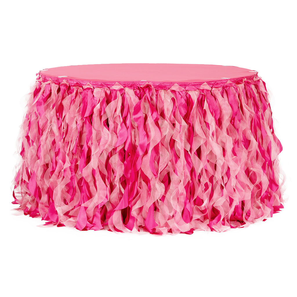 Curly Willow 14ft Table Skirt - Fuchsia