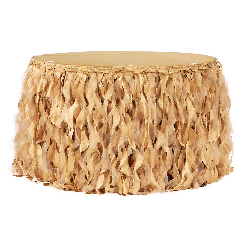 Curly Willow 14ft Table Skirt - Gold