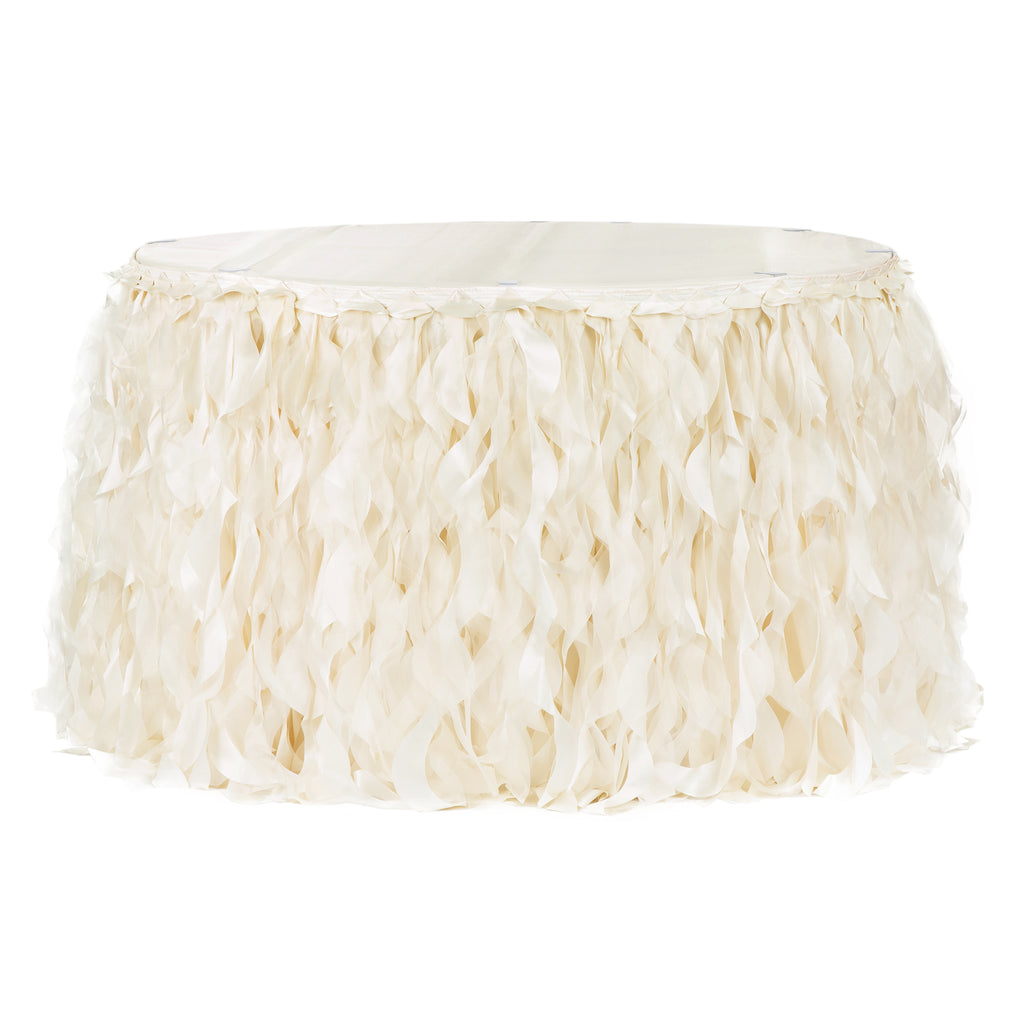 Curly Willow 21ft Table Skirt - Ivory