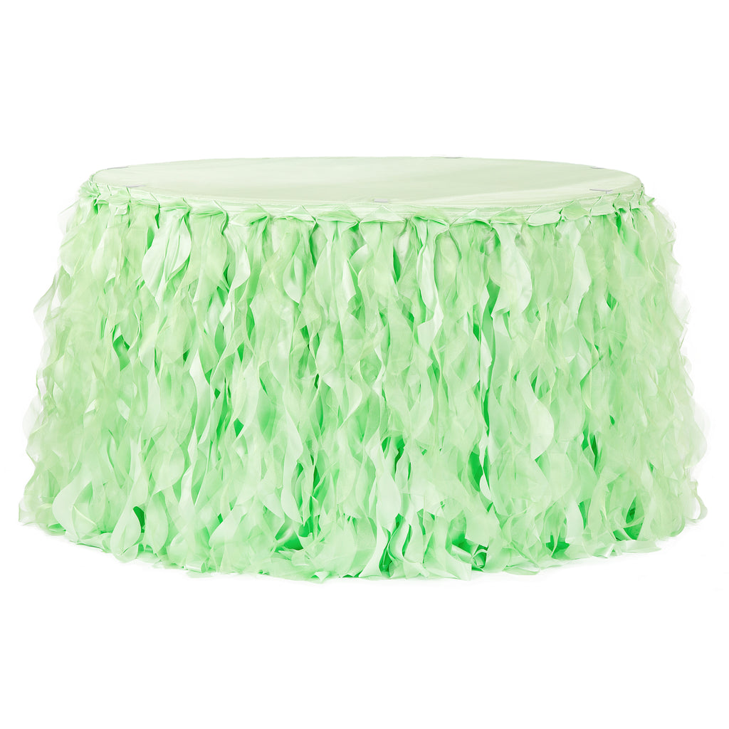 Curly Willow 14ft Table Skirt - Mint Green