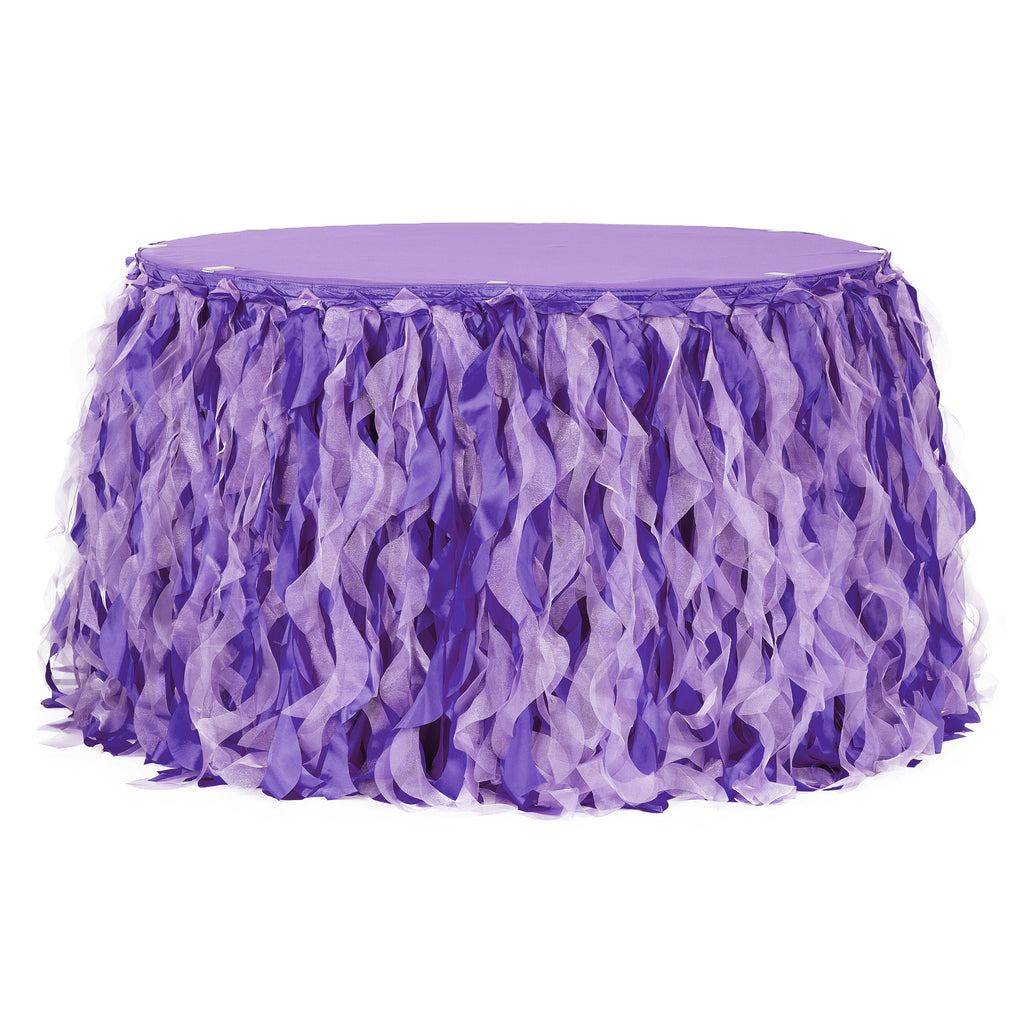 Curly Willow 14ft Table Skirt - Purple