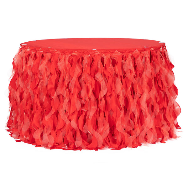 Curly Willow 17ft Table Skirt Red Cv Linens