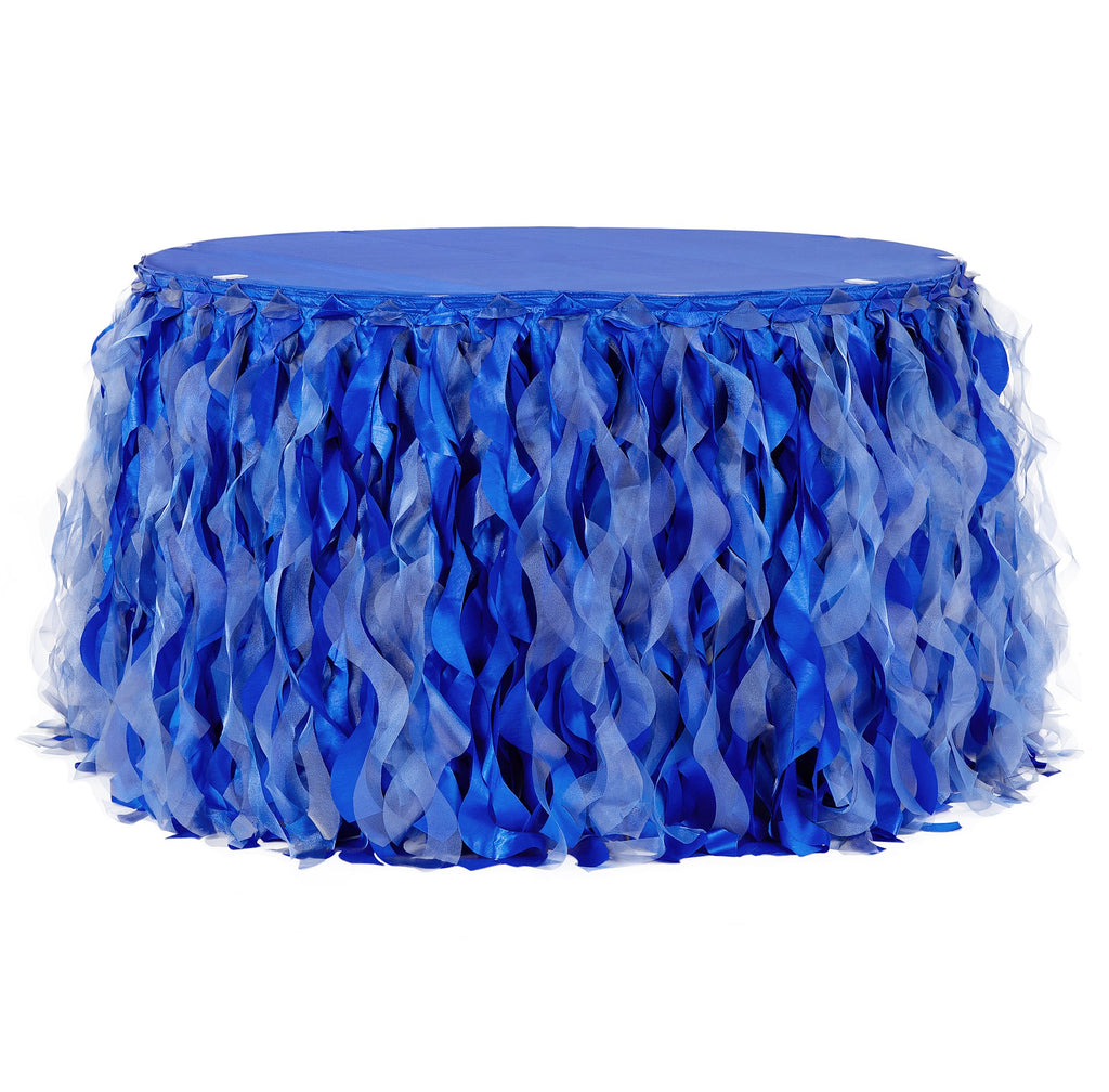 Curly Willow 14ft Table Skirt - Royal Blue
