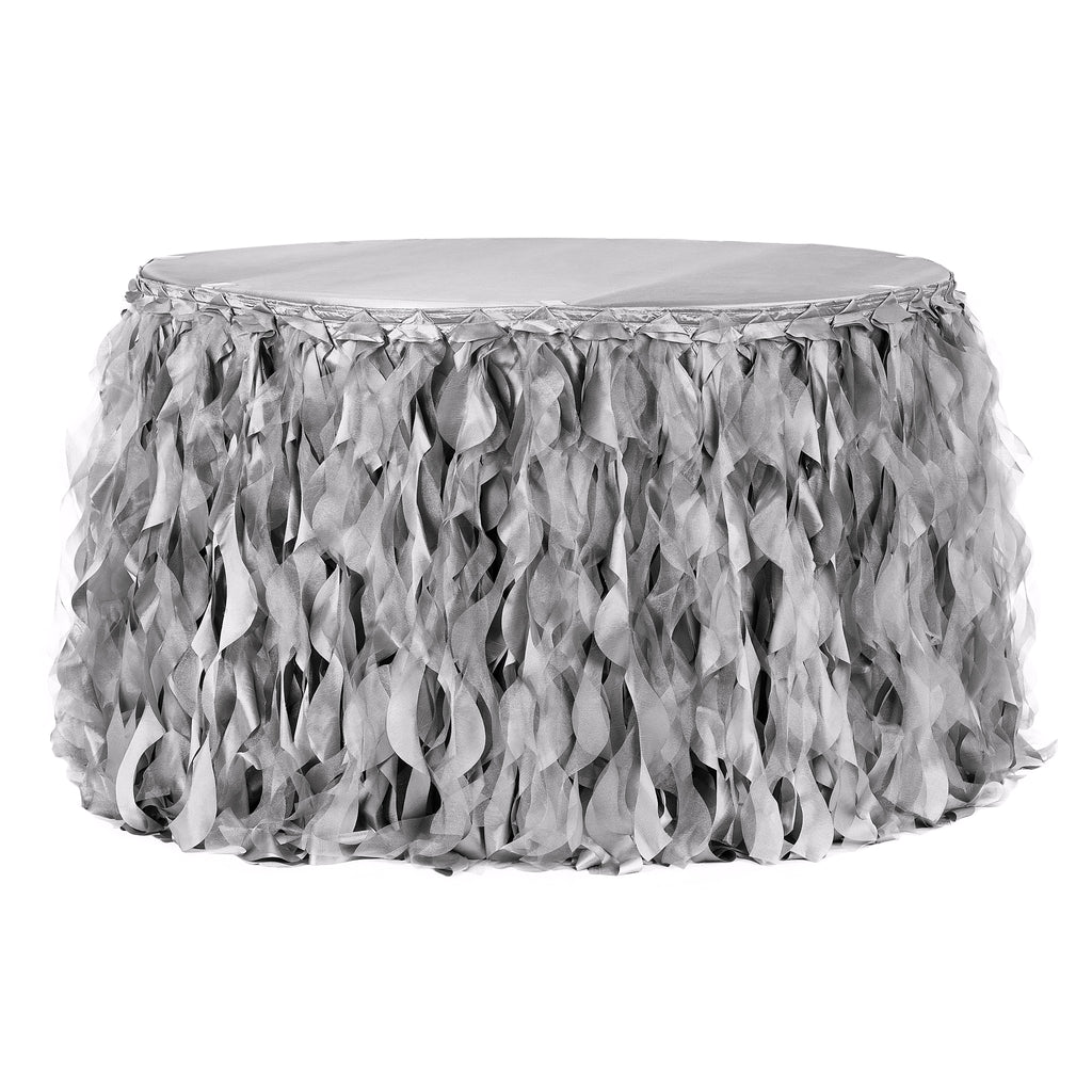 Curly Willow 14ft Table Skirt - Silver