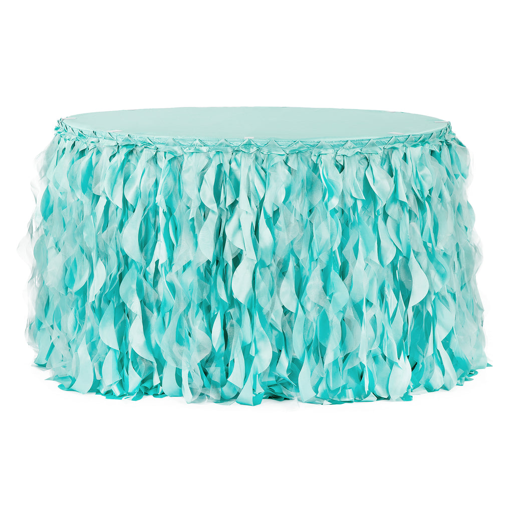Curly Willow 14ft Table Skirt - Turquoise