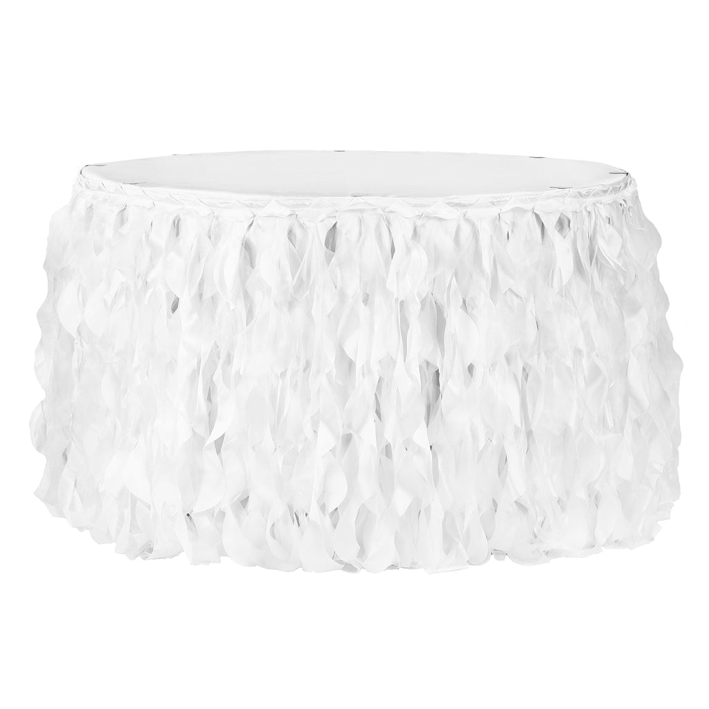 Curly Willow 14ft Table Skirt - White