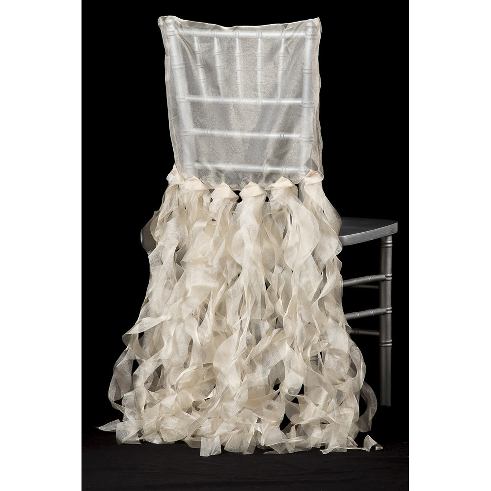Curly Willow Chiavari Chair Back Slip Cover - Champagne