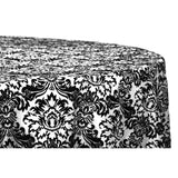 "Damask Flocking Taffeta 132"" Round Tablecloth - Black & White"