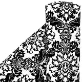 40 yards Damask Flocking Taffeta Fabric Roll - Black & White