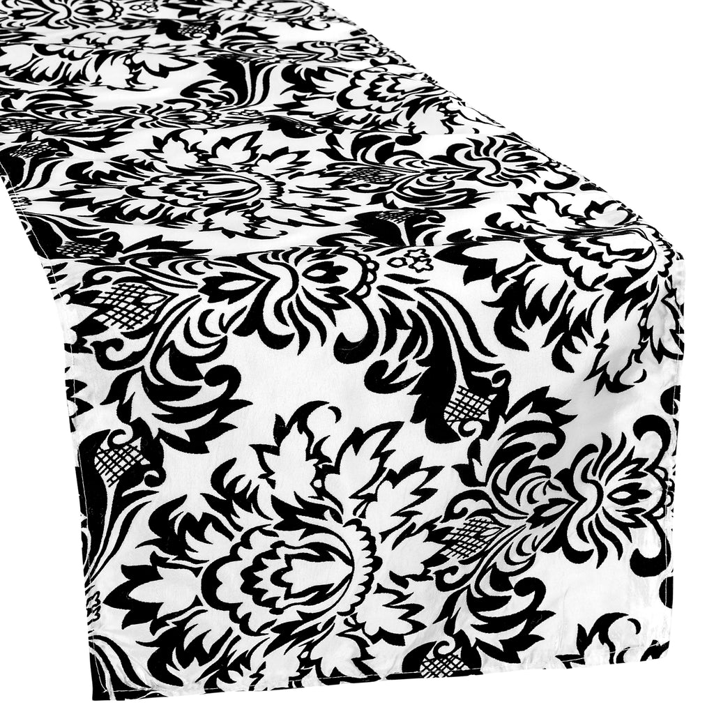 Damask Flocking Taffeta Table Runner - Black & White