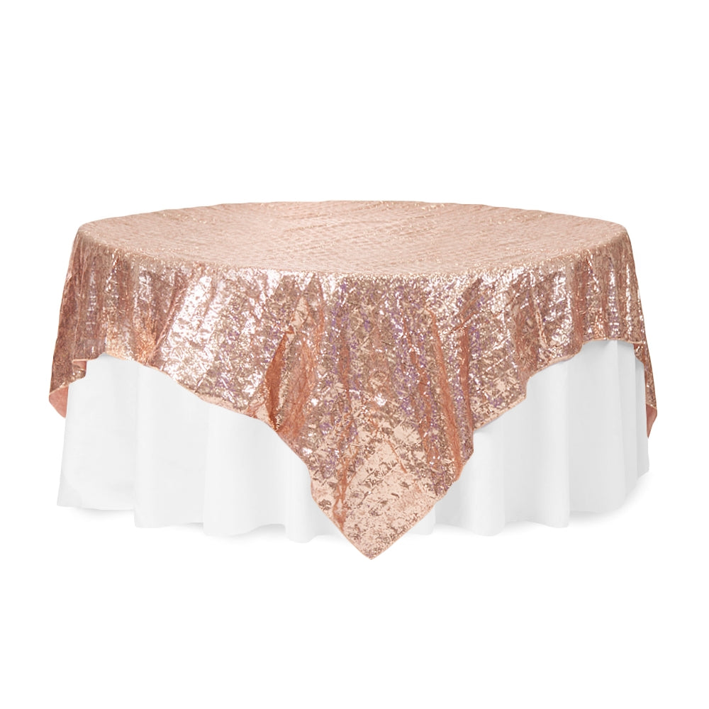 "Diamond Glitz Sequin Table Overlay Topper 85""x85"" square - Blush/Rose Gold"