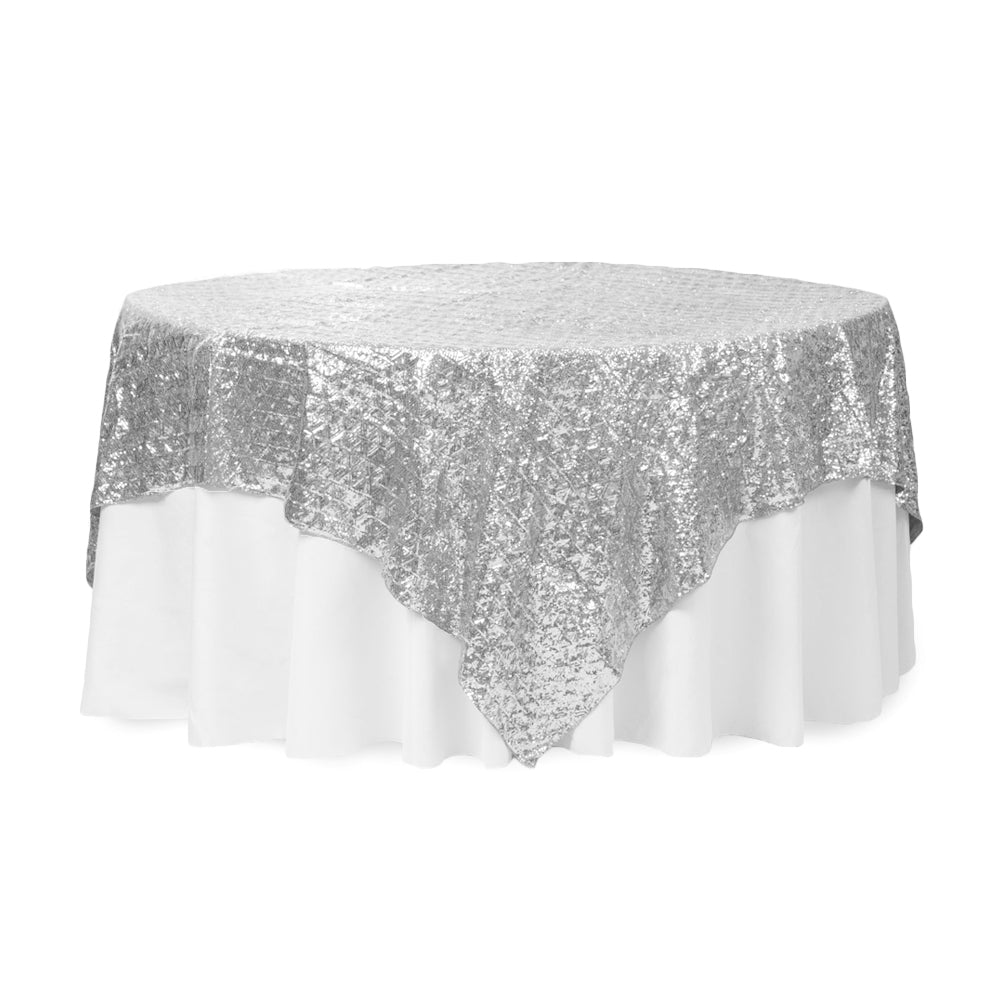 "Diamond Glitz Sequin Table Overlay Topper 85""x85"" square - Silver"