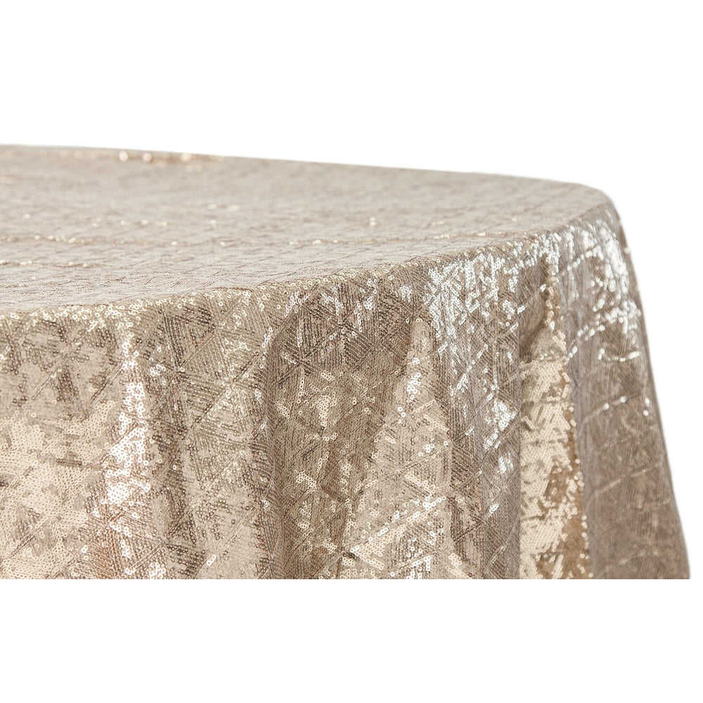"Diamond Glitz Sequins 132"" Round Tablecloth - Champagne"