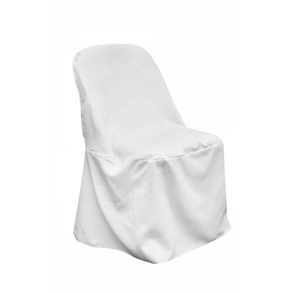 Economy Polyester Folding Chair Cover - White