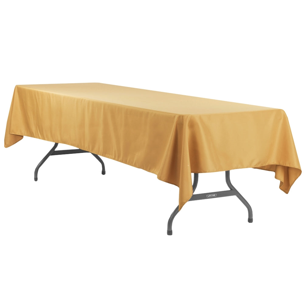 "Economy Polyester Tablecloth 60""x120"" Rectangular - Gold"