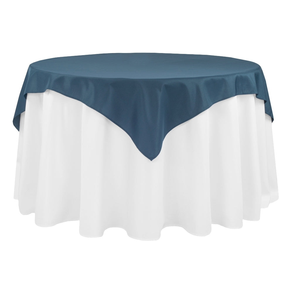 "Economy Polyester Table Overlay Topper/Tablecloth 54""x54"" Square - Navy Blue"