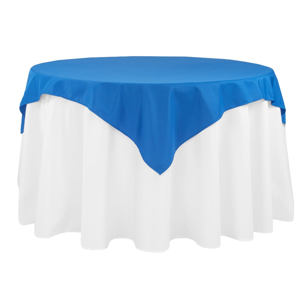 "Economy Polyester Table Overlay Topper/Tablecloth 54""x54"" Square - Royal Blue"