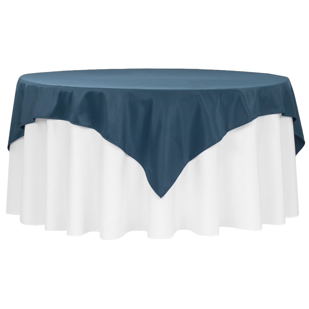"Economy Polyester Table Overlay Topper/Tablecloth 72""x72"" Square - Navy Blue"