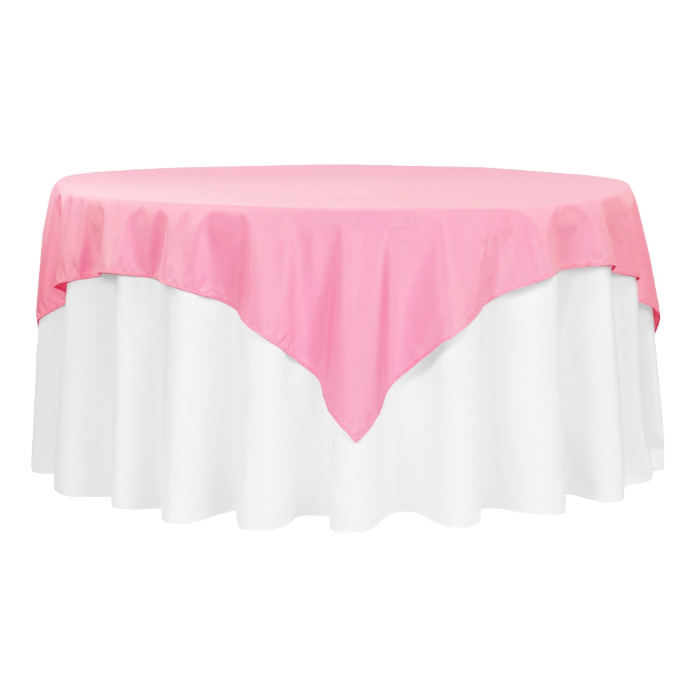 "Economy Polyester Table Overlay Topper/Tablecloth 72""x72"" Square - Pink"